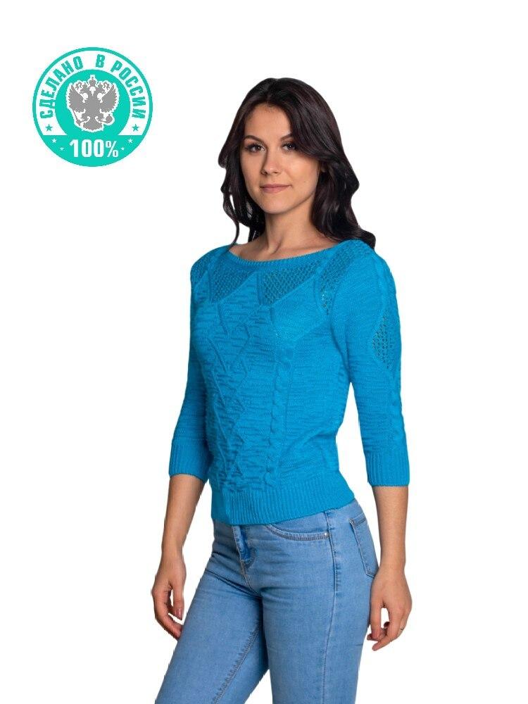 Кофта женская вязаная голубая с длинными рукавами, джемпер повседневный яркий однотонный