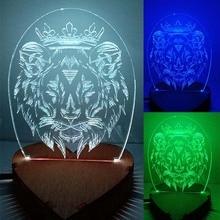 N-046 Lion crown-3D USB led lampe écologique veilleuse, main, table veilleuse, décor à la maison,