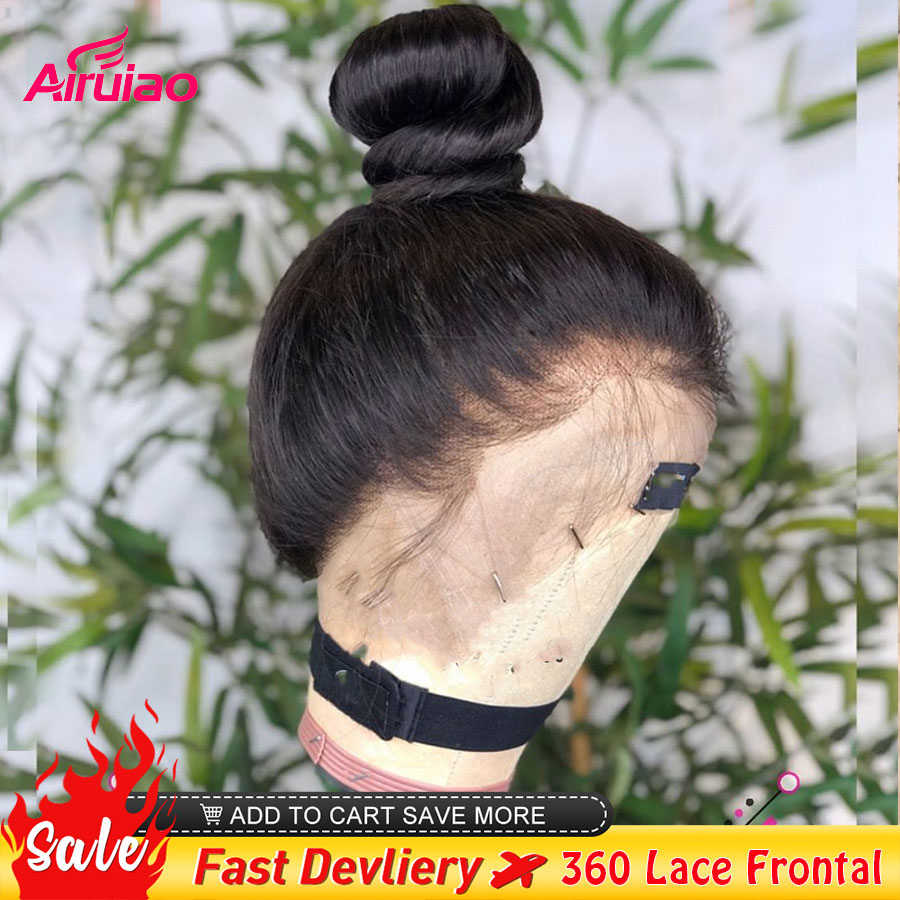 360 HD Lace Frontal Human Hair Wigs Bone Straight 13X6 Lace Front Wig Remy Pre Plucked Bleached Knots Full Women Closure Wig