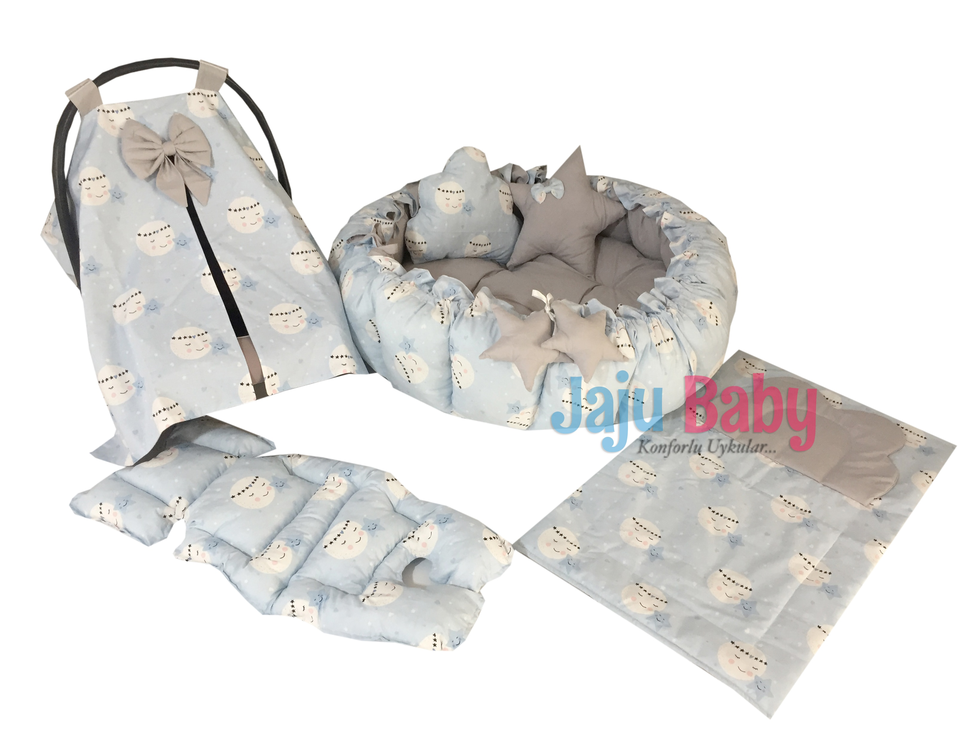 Jaju Baby Blue Moon Patterned Set Design Luxury Play Mat Babynest Babynest, Mother's Side Baby Bed, Retractable Play Mat