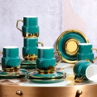kosovo cup set porcelain 6 piece luxury gold bone china creative porcelain cup and saucer ceramic modern design coffee cups