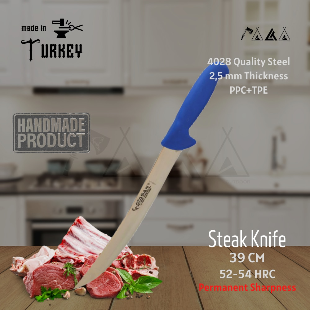 ATASAN سكين لحوم منحني سكين الطاهي سكاكين المطبخ اليدوية عالية الجودة المهنية شريحة فولاذية قاطع لحوم