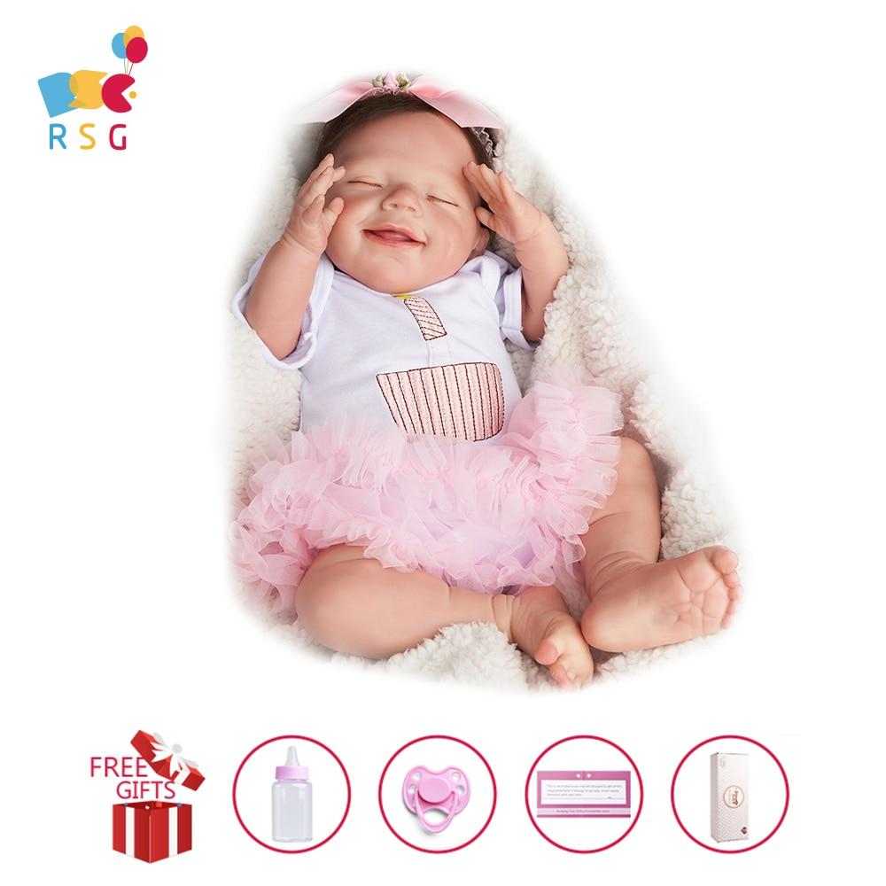 RSG Reborn Baby Doll 20 Inches Lifelike Newborn Sleeping Smile Baby Girl Vinyl Reborn Baby Doll Gift Toy for Children