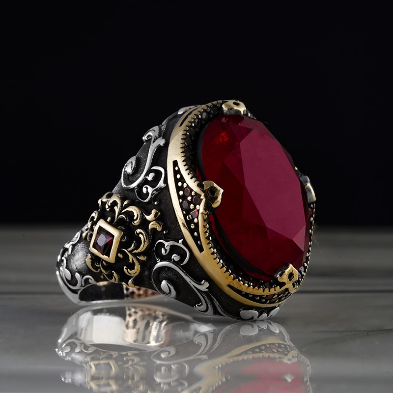 Guaranteed High-quality 925 Sterling Silver ZİRCON STONE ring Jewelry Made in Turkey in a luxurious way for men with gift