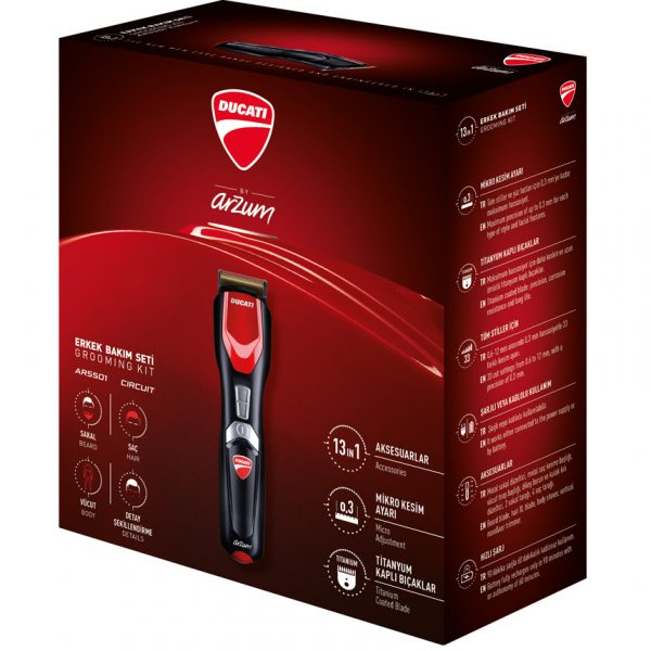 My Desire by Ducati AR5501 Gearbox 13-in-1, Hair trimmer, Hair Clipper, Eu plug, abs, Man Grooming Kit- Cordless 60mn Made In TURKEY enlarge