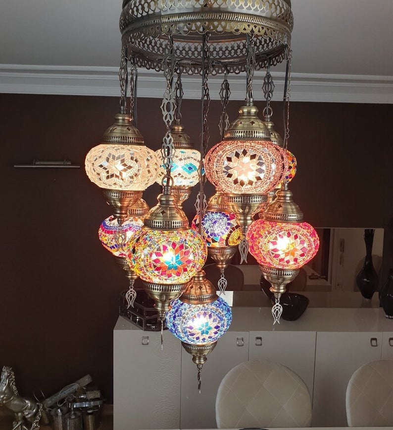 Multicolor 9 Ball White Housewares, mosaic lamp, turkish mosaic lamp, Lighting, Chandelier, glass mosaic lamp, Hanging lamp,