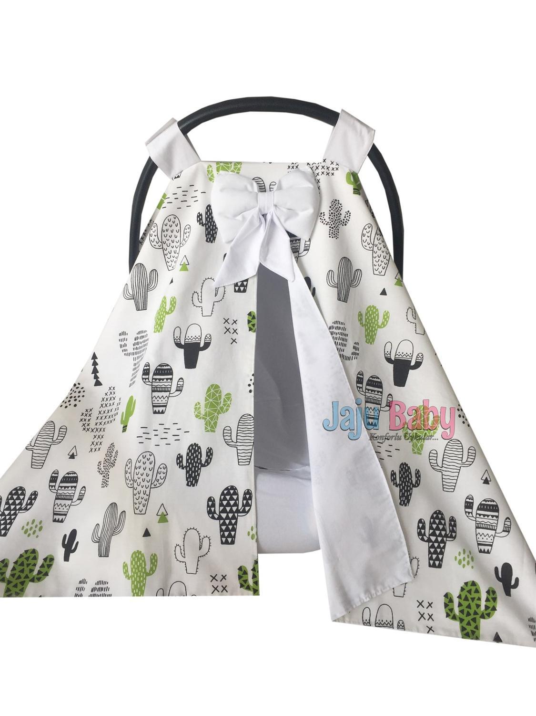Jaju Baby White Cactus Design Stroller Cover and Inner Linen