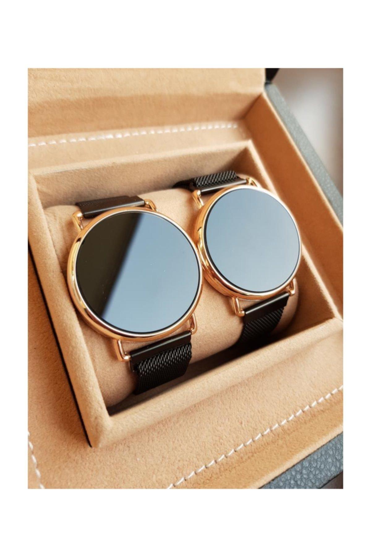 gold Time Siyah Renk Mıknatıslı Kordon Dokunmatik Sarı Kasa Sevgili Saatleri