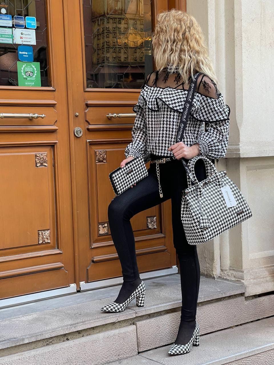 حقيبة نسائية محفظة وحذاء كومبين فريق مصمم فاخر جودة عالية صنع في تركيا k-9040