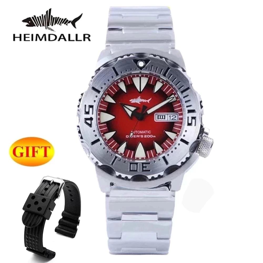 Heimdallr Monstro Relógio Automático Masculino Nh36a Relógios Mecânicos Safira Vintage c3 Luminoso Mergulhador 200m Preto Pvd