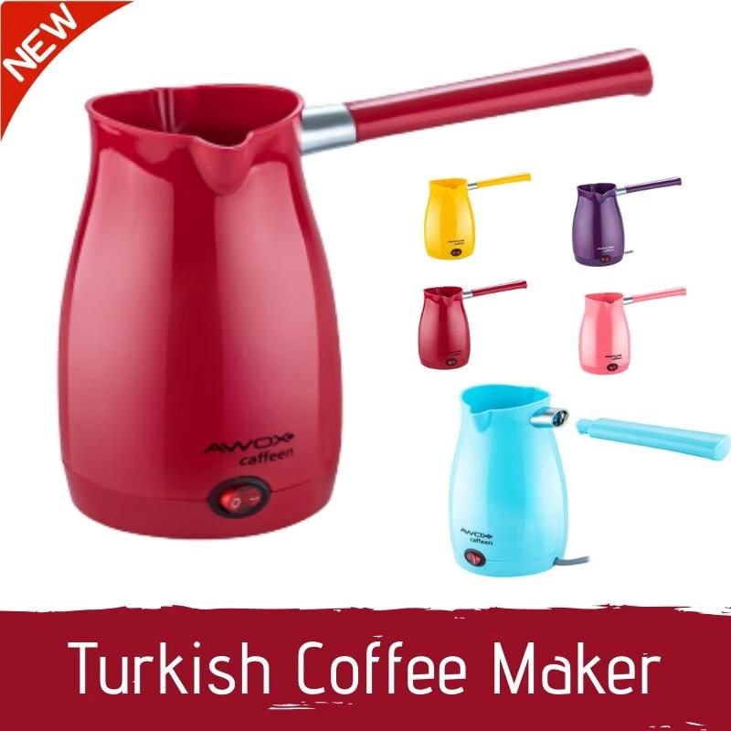 Awox ماكينة القهوة الكهربائية التركية القهوة إبريق قهوة اسبريسو كابتشينو سهلة المحمولة سريعة السلكية 1000 واط 0.3L 5 أكواب سعة