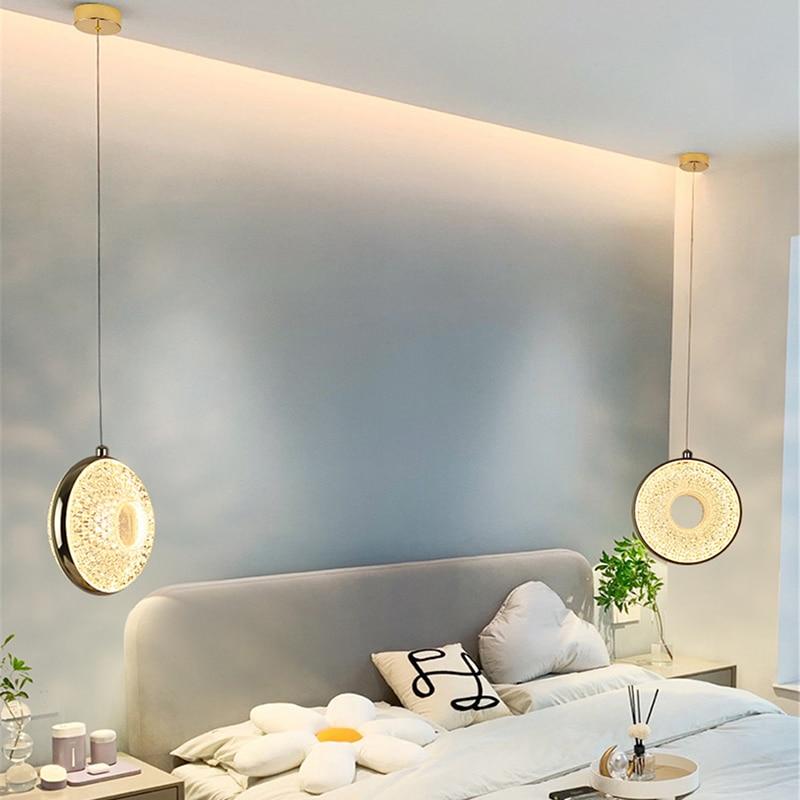 Современные светодиодные подвесные светильники, золотистые круглые акриловые лампы для гостиной, столовой, спальни, комнатные декоративны...