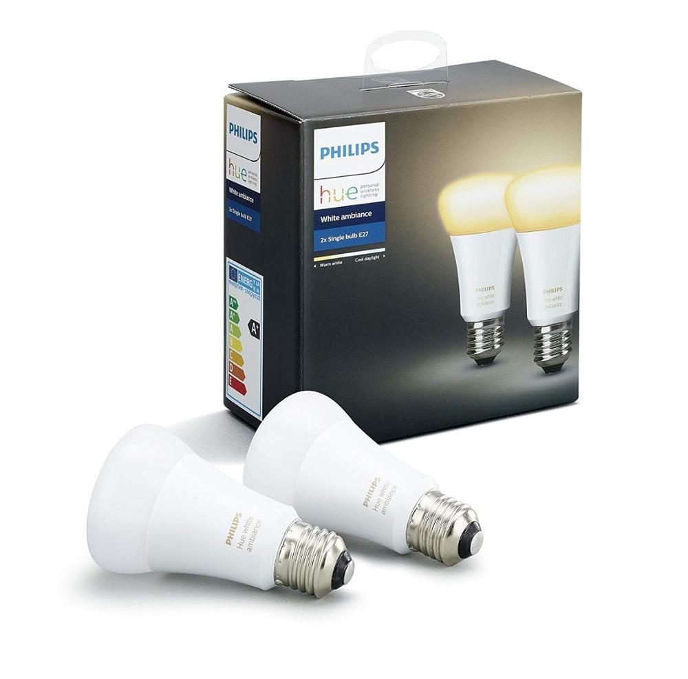 Philips Hue White Ambiance - Pack de 2 bombillas LED E27, 9W, iluminación inteligente [Clase de eficiencia energética A]