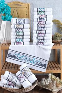 Flower Embroidered 12 Pieces 30x50 Cm Hand And Face Towel Set