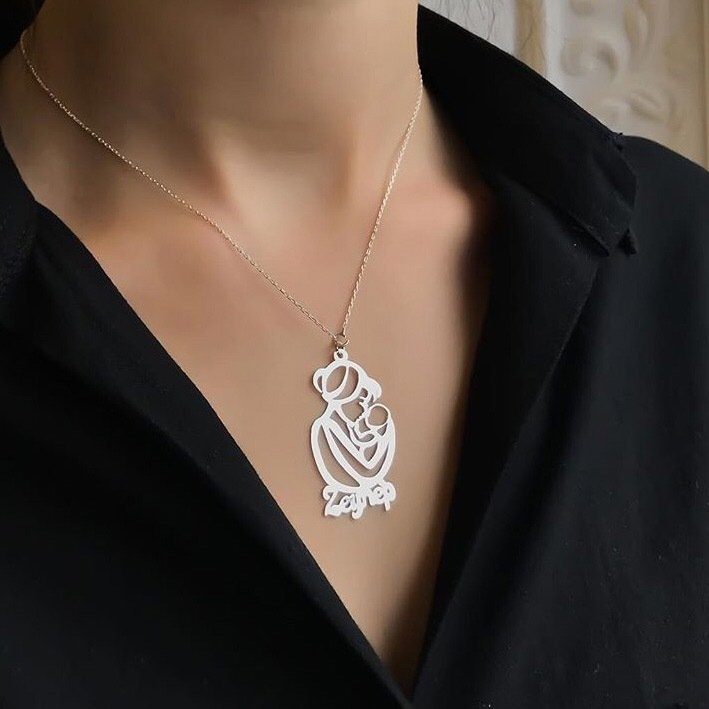 Mother Baby Design Silver Name Necklace