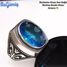 Knight Templar Case Aquamarine Stone Custom Silver Men 'S Ring