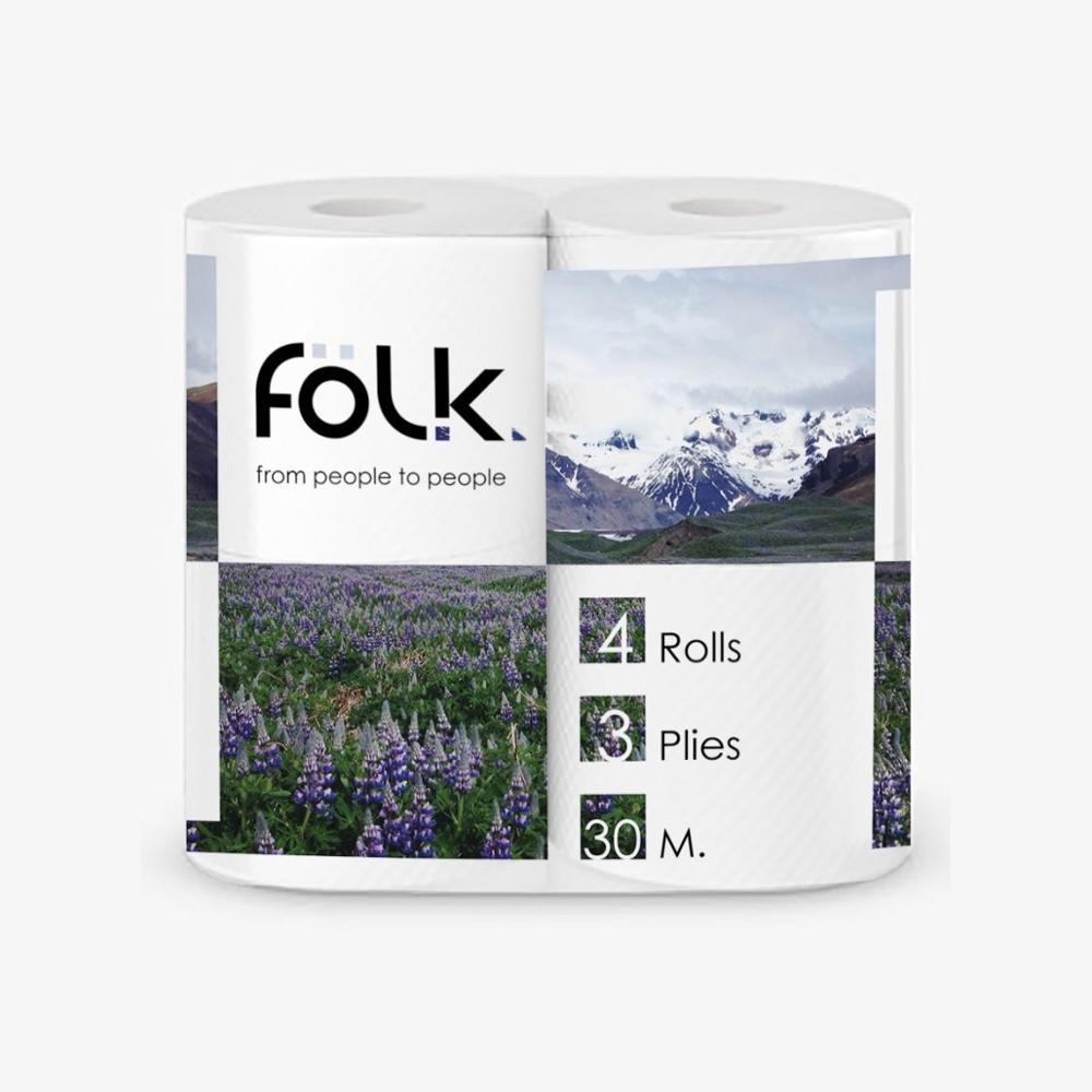 Papel higiénico FOLK 3 capas-4 Uds por paquete 27 metros 100% celulosa