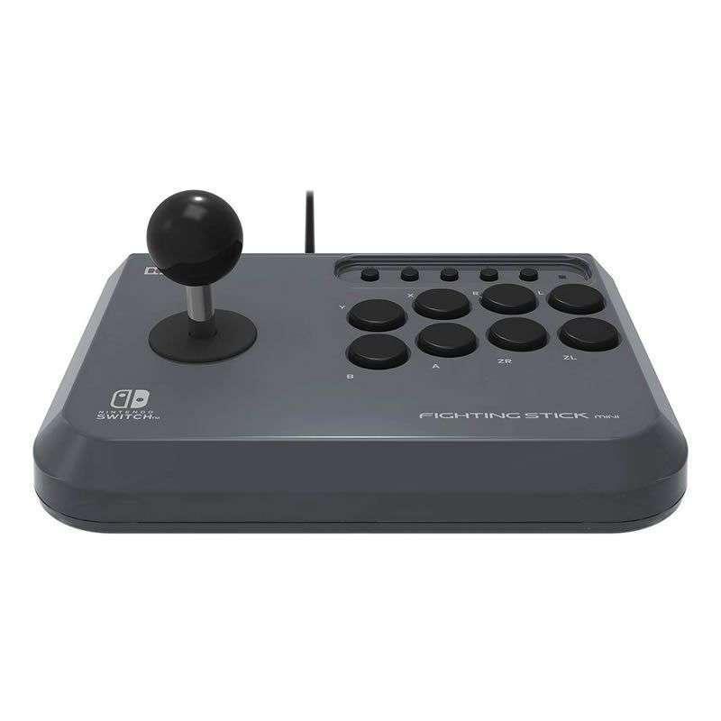 Controlador hori fighting stick mini para nintendo switch/pc - 8 botones + joystick - función turbo - diseño compacto