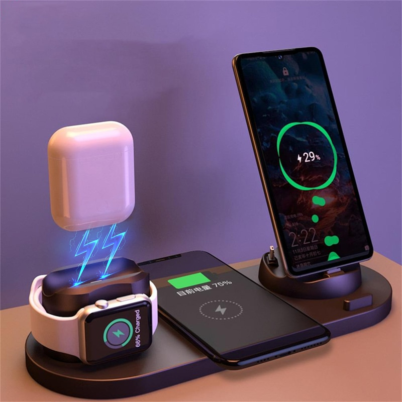 2021 6 in 1 Wireless Charger Dock Station for iPhone/Android/Type-C USB Phones 10W Qi Fast Charging For Apple Watch AirPods Pro