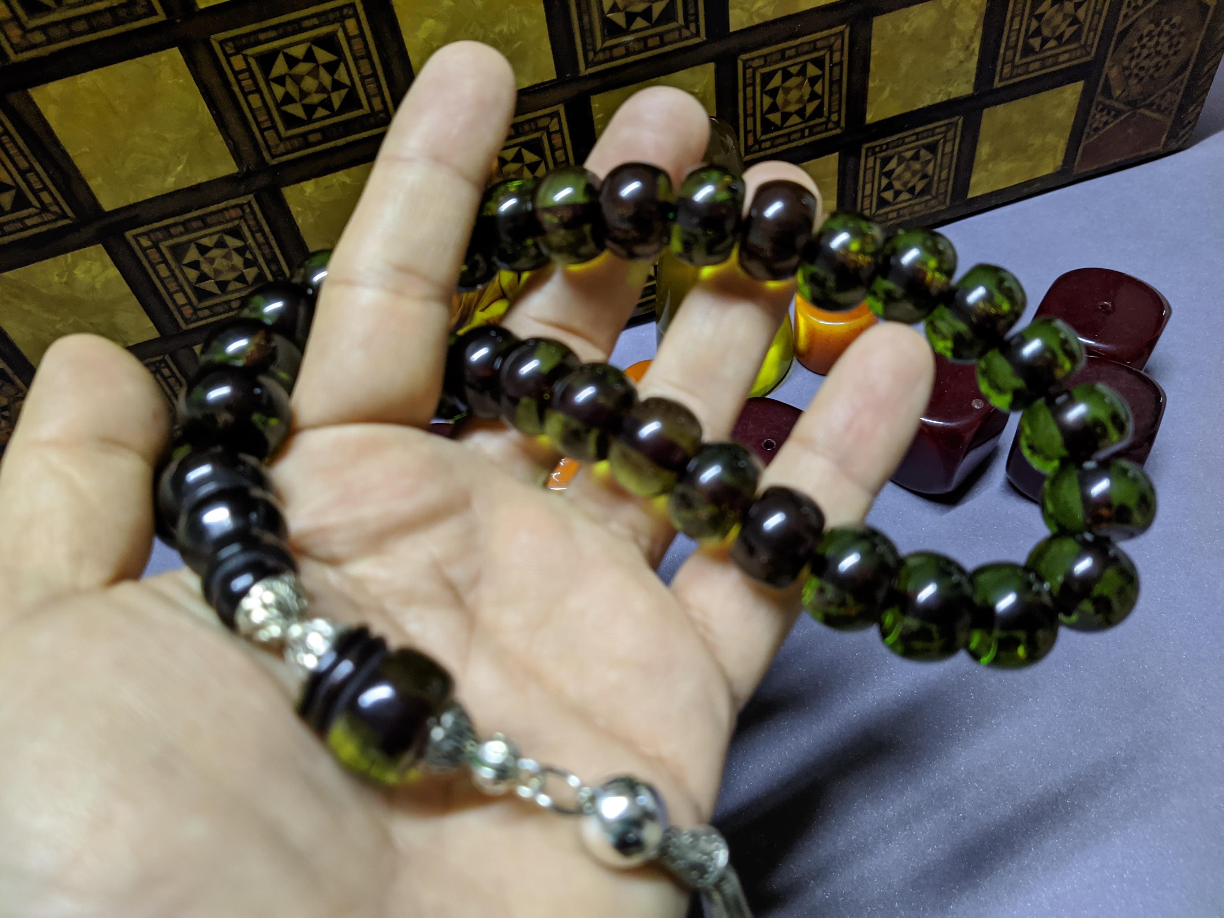 Ottoman Faturan German Amber Sandalous Misbaha Prayer Beads Islamic Gift Tasbih Tasbeeh Tasbeh Rosary Tasbih #33