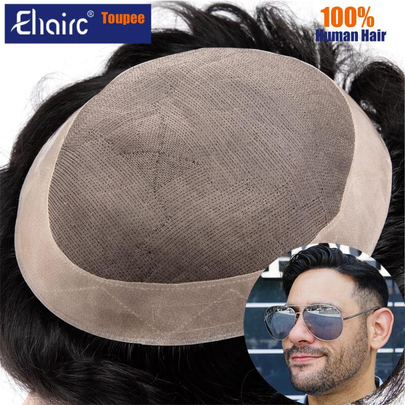 Men Wig Human Hair Toupee Fine Mono Male Wig 130% Density Durable Hair Prosthesis Toupee Men  6