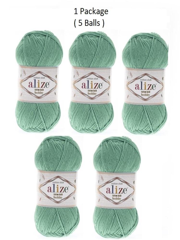 Hilo 1 paquete (5 bolas) Alize batik de algodón oro Hobby hilado...