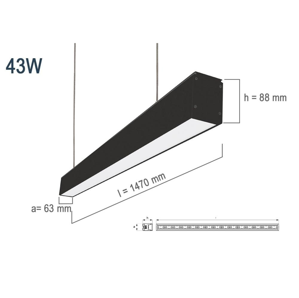 Pamir Lighting 43W Lenght: 1470mm Lineer Suspended LED Lighting Fixture, PL17S20C03C Energy Saving Light, Decorative Design