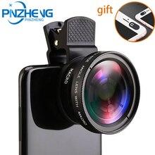 PINZHENG Fish Eye Lenses Mobile Phone Lens 2in1 Lens 0.45X Wide Angle+12.5X Macro HD Phone Camera Le