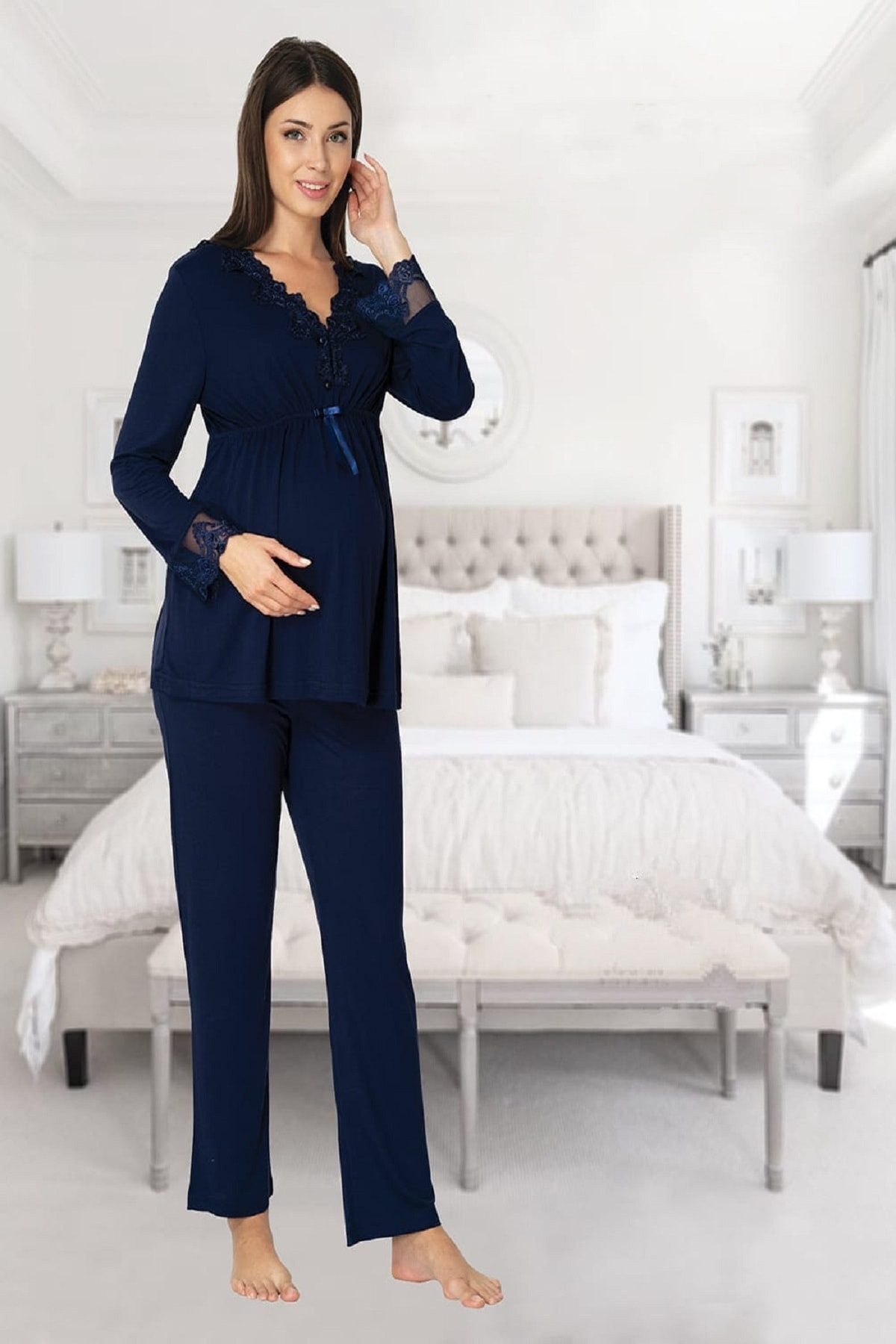 Women's Navy Blue Long Sleeve Pajamas Set Nightgown Dressing Gown Puerperal Maternity 4'lü Set enlarge