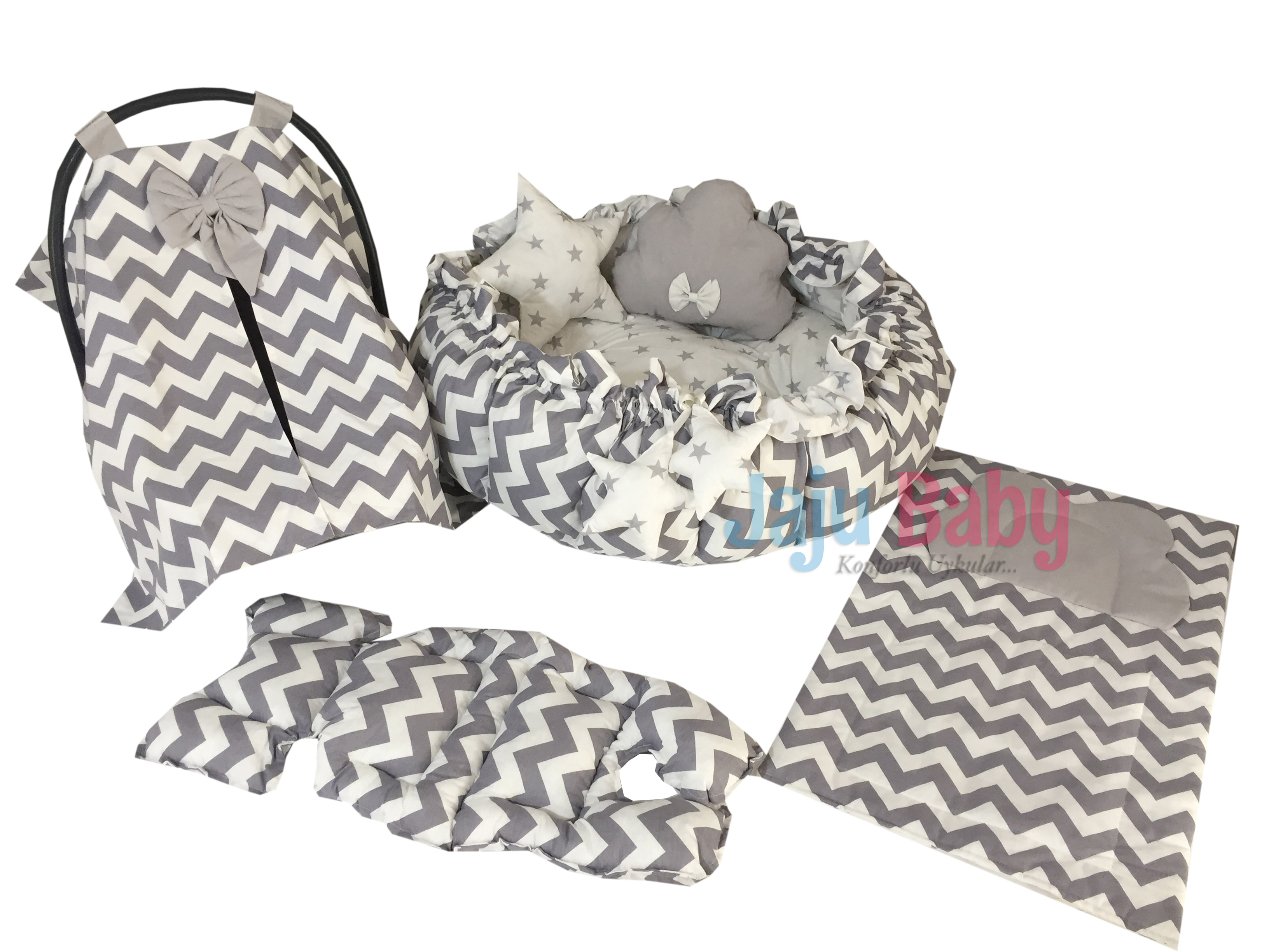 Jaju Baby Gray-White Zigzag Patterned Design Luxury Play Mat Babynest, Maternal Baby Bed, Retractable Play Mat