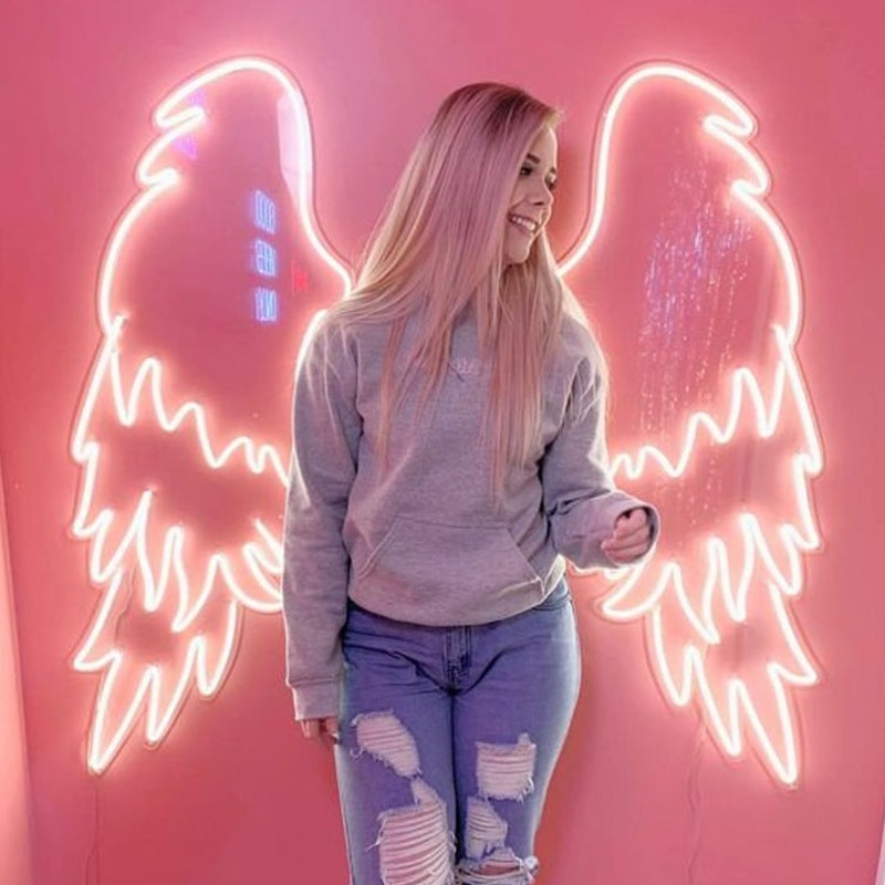 Аngel Wings and Halo Neon Sign Custom Neon Sign Light Wedding Decor Party Decor Wall Decor Photo Zone Store Decor Wings Sign enlarge