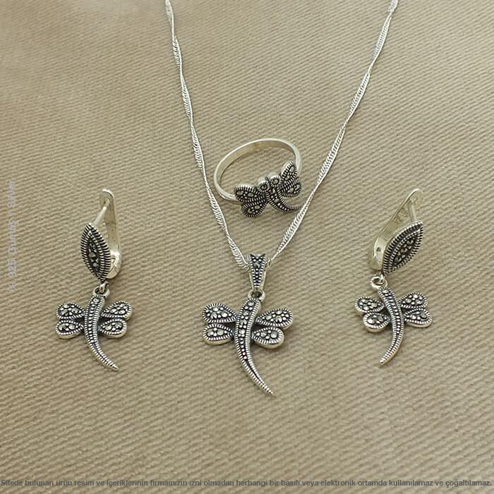 Marcasita piedra libélula motivo plata sra. Triple Set joyería Outlet