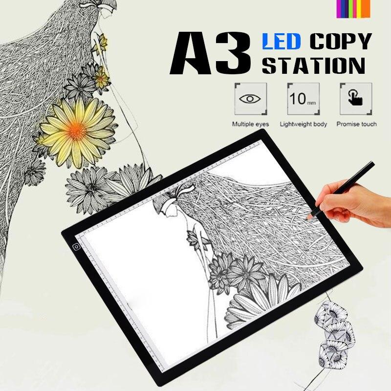 لوح رسم رقمي أكبر A3 ، صندوق إضاءة LED ، لوحة تتبع إلكترونية USB ، لوحة نسخ فنية ، طاولة رسم للكتابة
