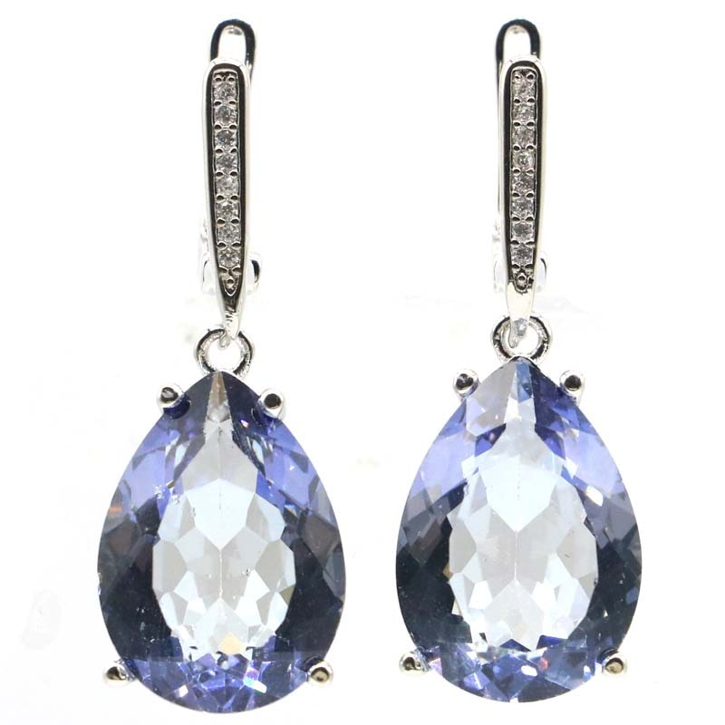 35x13mm New Designed Drop Shape Created Fire Mystic Violet Topaz Silver Earrings