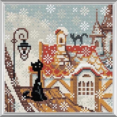 """AM0010 juego de mosaico de diamantes Riolis """"Ciudad y gatos. Invierno» 20*20 cm"""