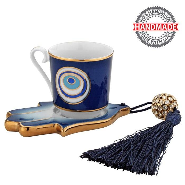 اليدوية Kutahya Omur الخزف 1 شخص القهوة كأس مجموعة التركية القهوة إسبرسو 1 القهوة كوب + 1 اليد شكل الصحن ٪ 100 الأصلي