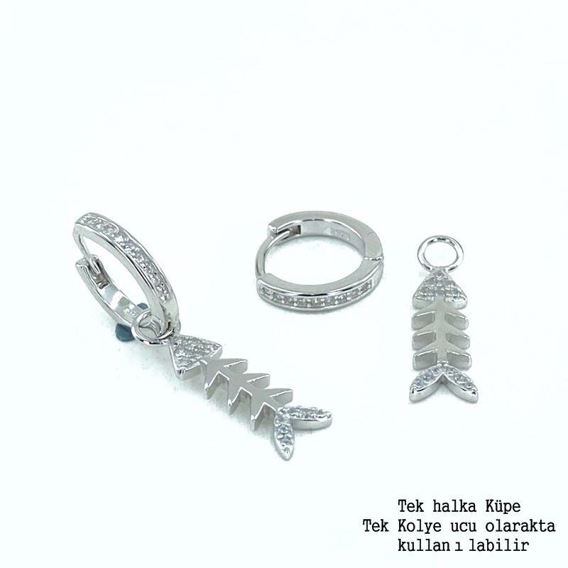 Pendientes elegantes de plata 925 modelo de espina de pez