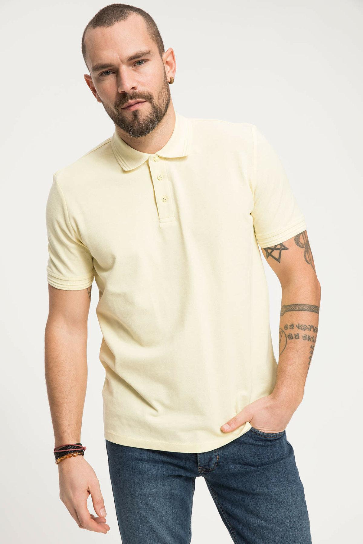 Polos blancos de manga corta para hombre defact, camisas lisas para hombre, Polos, cuello levantado, Camisa de algodón informal K0337AZ19SMWT34