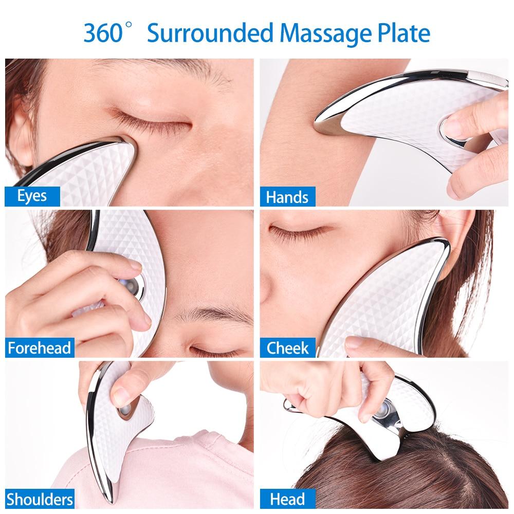 Vibrating Facial Massager Facial Massager Plate Micro Electric Scraping Plate LED Light Heating Scraping Facial Lift Massage