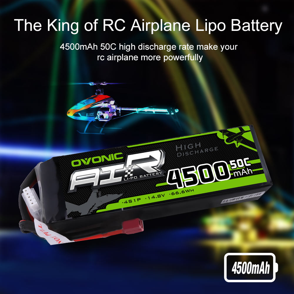OVONIC 14.8V 50C 4S 4500mAh LiPo Battery Pack With T Plug For Car Airplane Helicopters RC cars RC Airplane 2 PCS enlarge