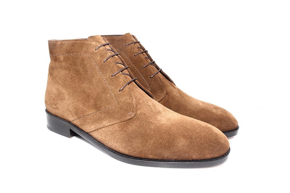 SHENBIN's-حذاء Chukka من جلد الغزال للصحراء ، أحذية عصرية مصنوعة يدويًا بنعل جلدي ، لون الجمل/التبغ