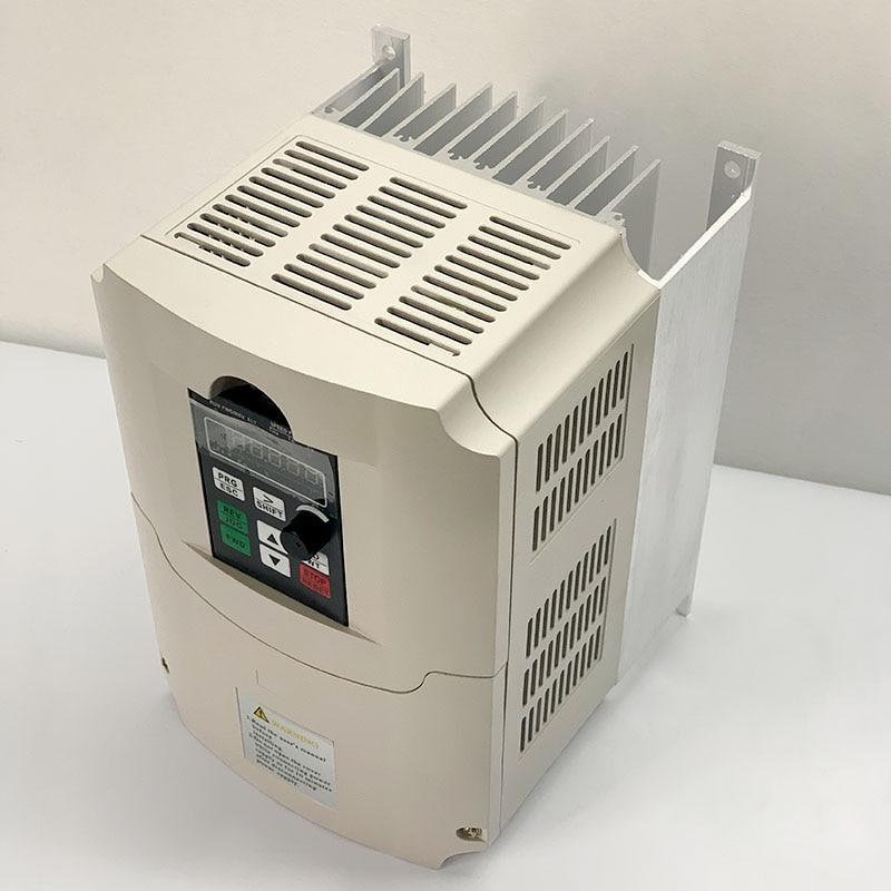 7.5kw inversor 220V en fase única entrada y salida de fase convertidor de frecuencia ajustable velocidad VFD para Motor del husillo