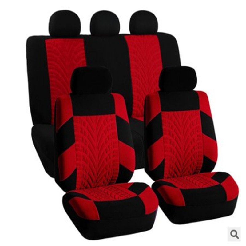 Embroidery Car Seat Covers Set Universal Fit Most Cars Covers with Tire Track Detail Styling Car Seat Protector enlarge