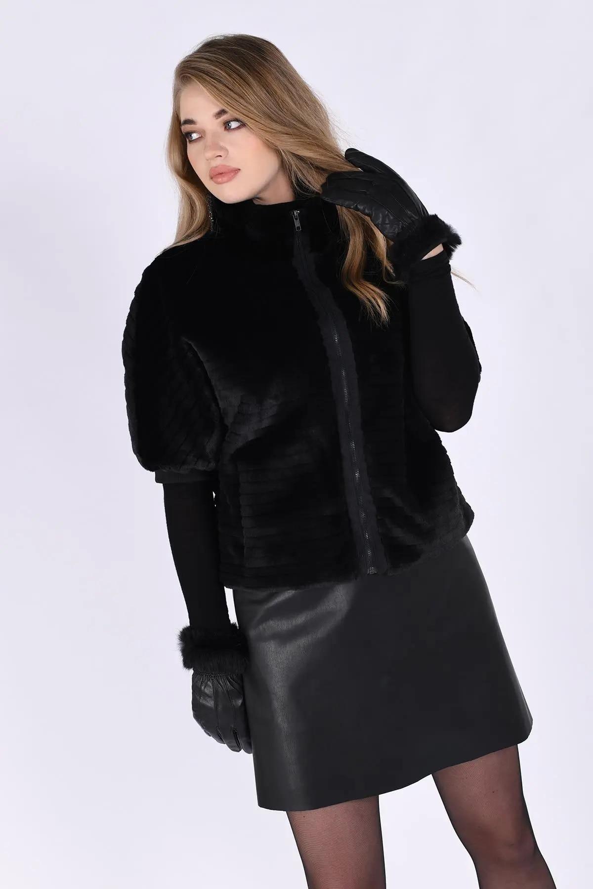 New Fashion Black Color Zipper Short Faux Fur 2021 Sexy Style Plus Size Jackets For Women 4xl 5xl 6xl