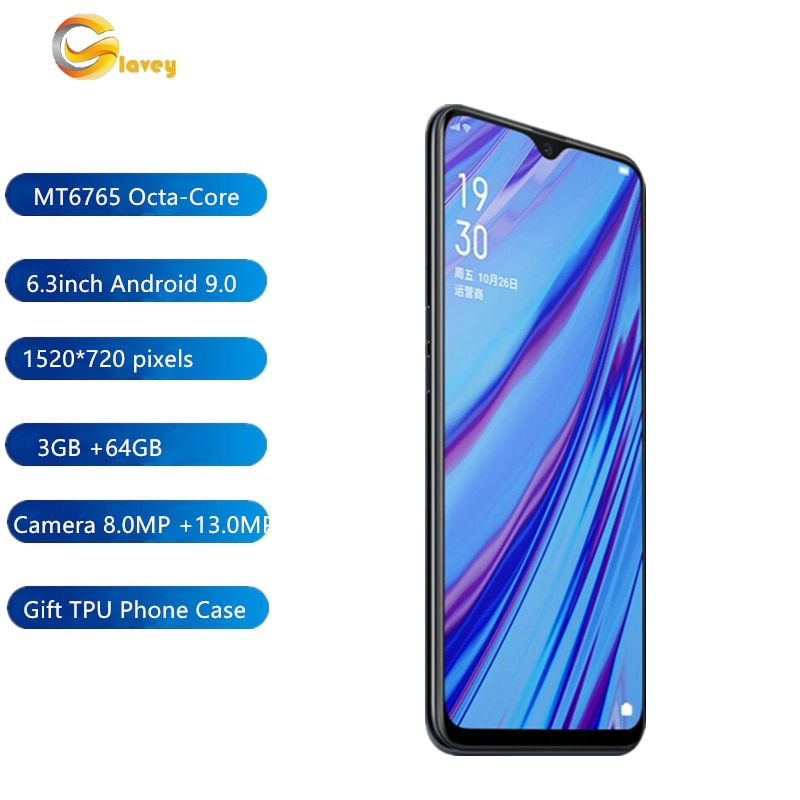3G/4G Smart mobile phones Dual SIM Cards 6.3 Inch 002 Plus 3+64GB Android 9.0 MT6765 Octa-Core 15200*720pixels WiFiPlayStore