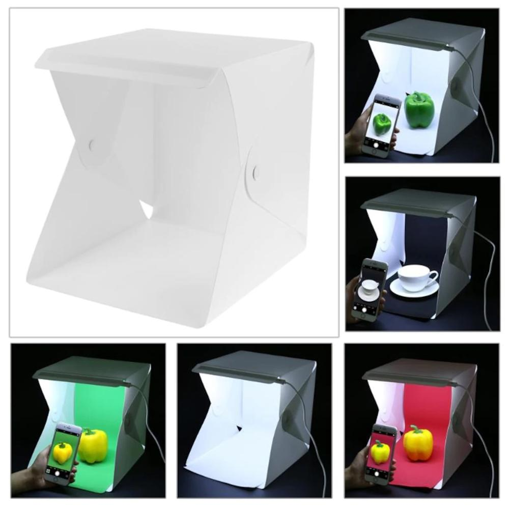 Portable Mini Photo Studio Box Led Backlights Photobox 16x16 inc 4 Color Background New 2021 Trend  Softbox Kit Led Lightbox
