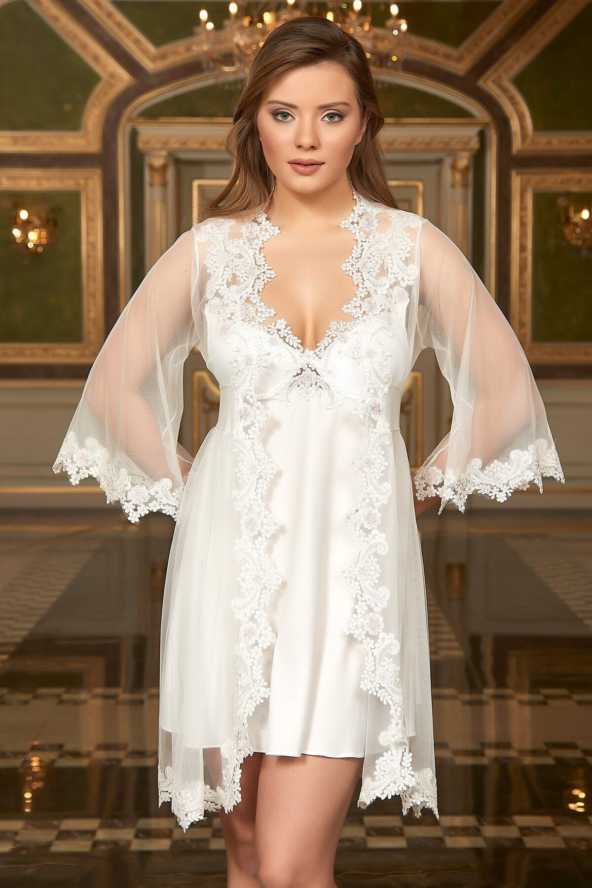 6PCS Robe Sleep Suit Pajamas Set Sexy Lace Stain White Lace Detailed Combed Cotton Nightgown Set Made in Turkey Sale Bride Set