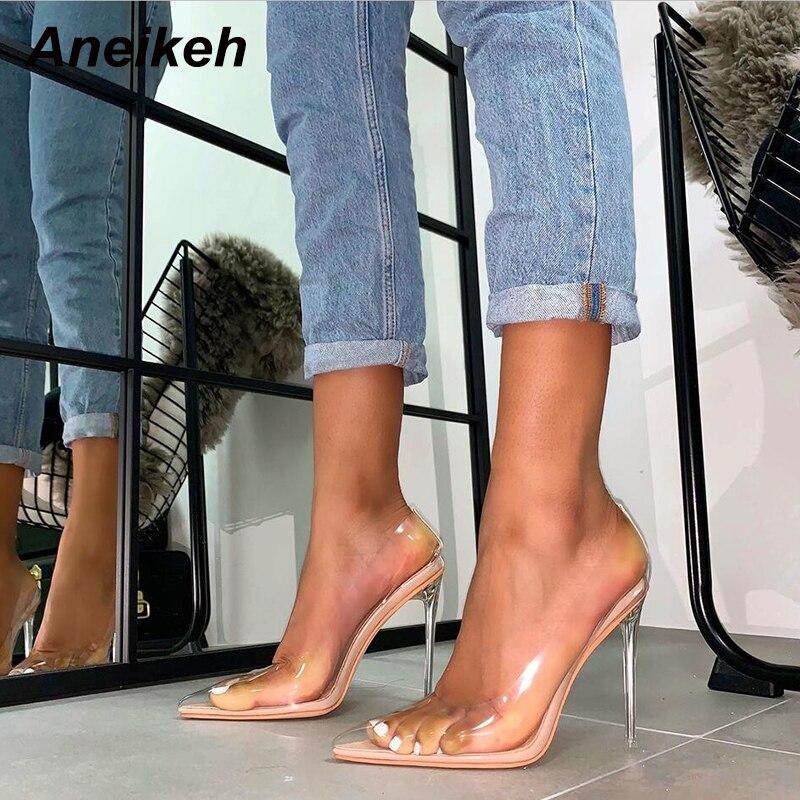 Aneikeh primavera verão transparente plástico pvc bombas clube festa sapatos moda sexy festa salto fino feminino sapatos de salto alto