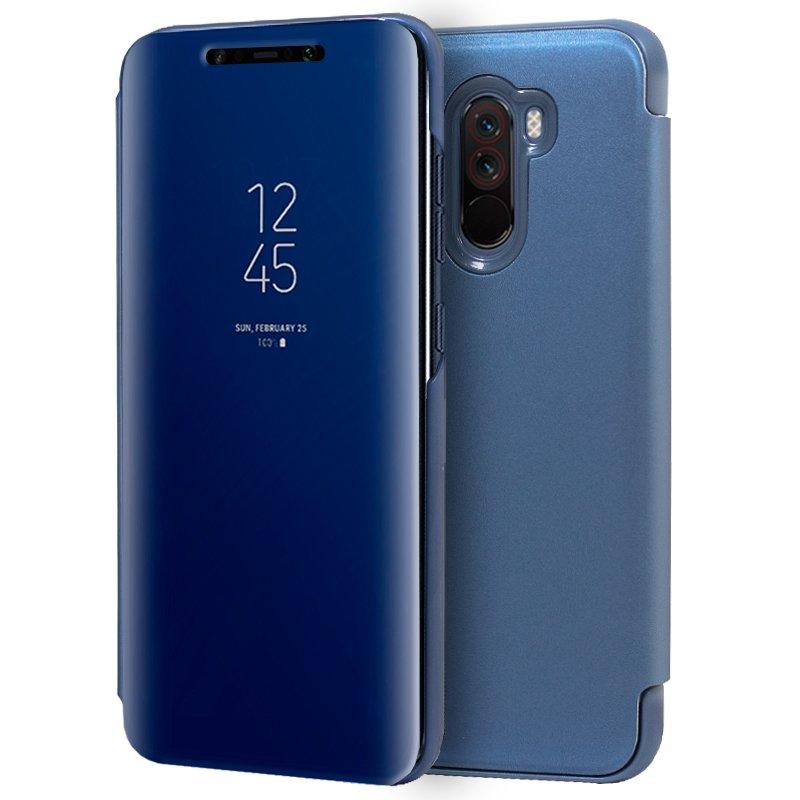 Xiaomi pocofone f1 clear view caso capa flip azul
