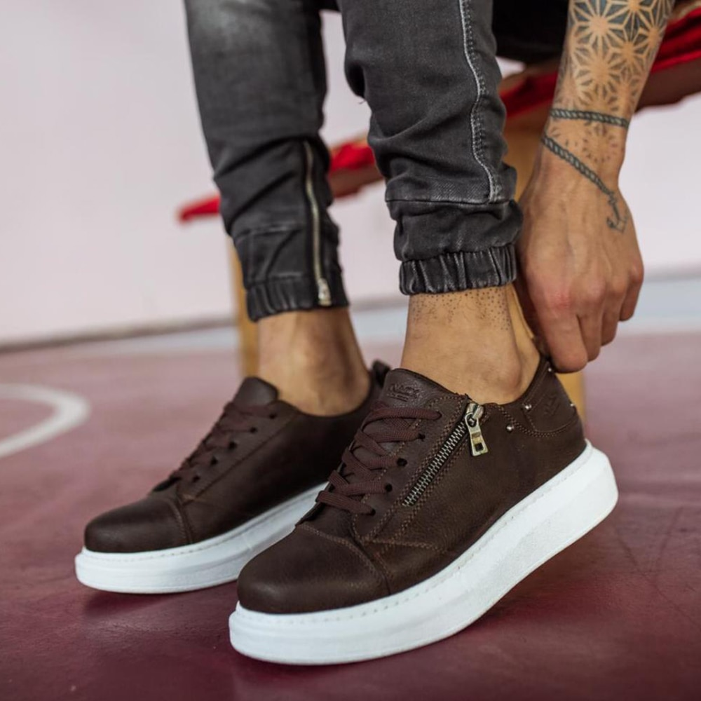 Knack Casual Men's Shoes Brown Color (White Sole) Comfortable Stitched High Sole Vivid colors Patterned Artificial Leather Zipper Lace-Up Closure Summer Season Fashion Sport Walking Use Shoes casual men sneakers 555